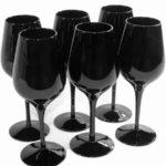 verre a pied noir et blanc