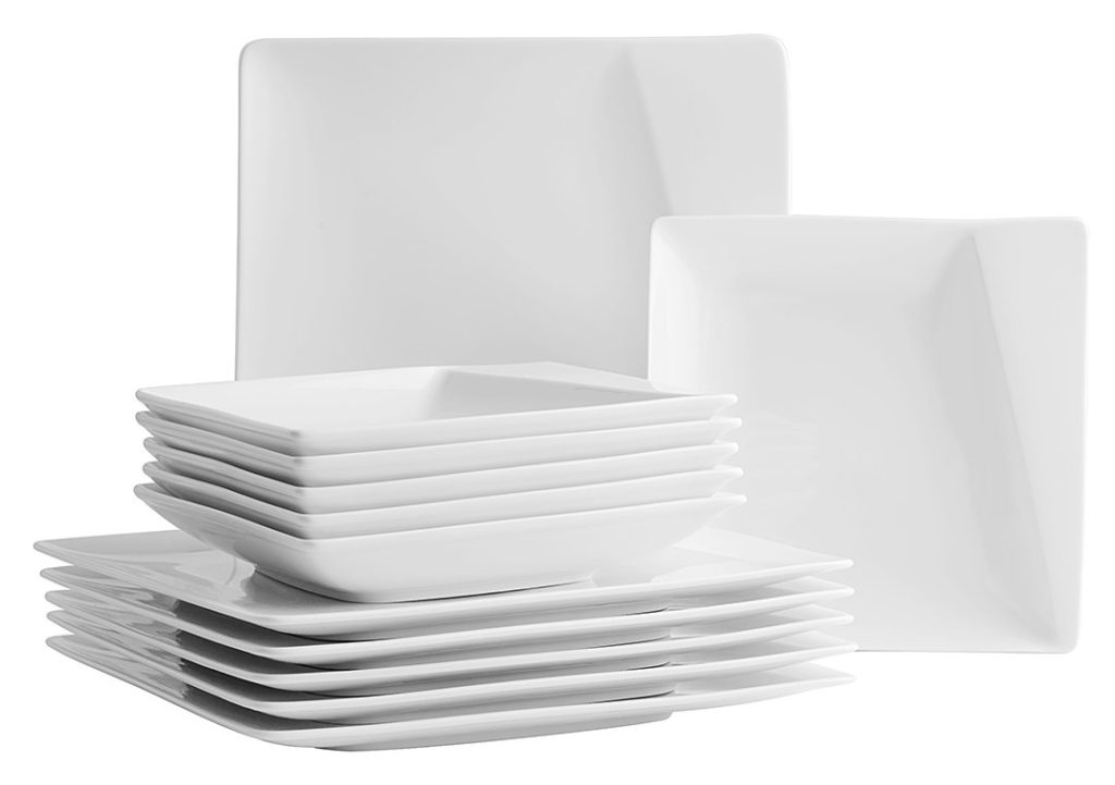 Id e service de table blanc 12 personnes vaisselle maison for Service de table noir et blanc