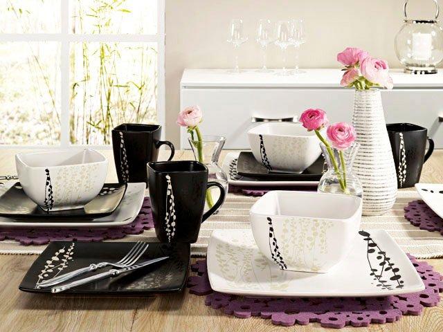 exemple service de table blanc et noir - Vaisselle Maison 635f484caa7