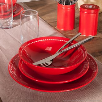 Service De Table Gris Et Rouge