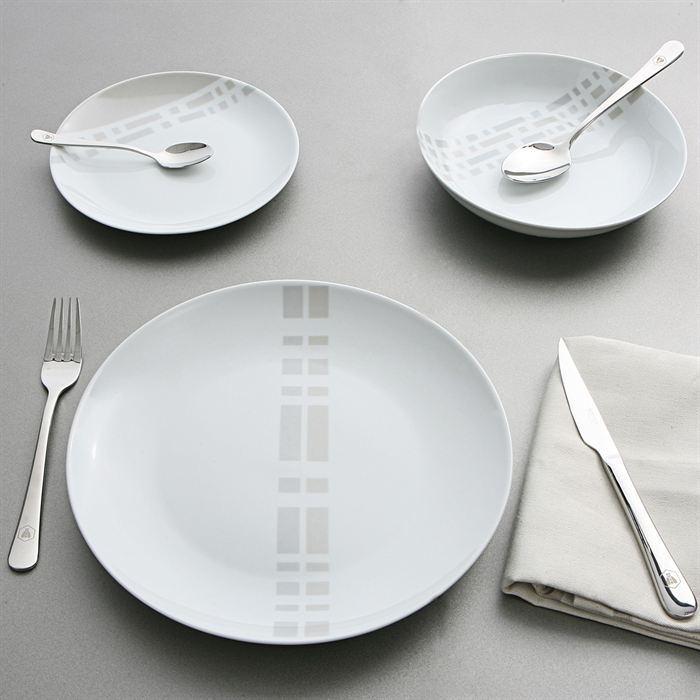 Ambiance service de table 18 pieces vaisselle maison for Service de table noir et blanc