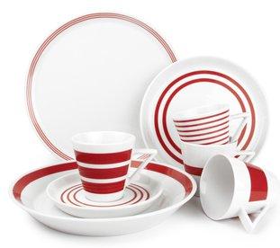 id e service de table gris et rouge vaisselle maison. Black Bedroom Furniture Sets. Home Design Ideas