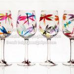 verre a vin peint a la main