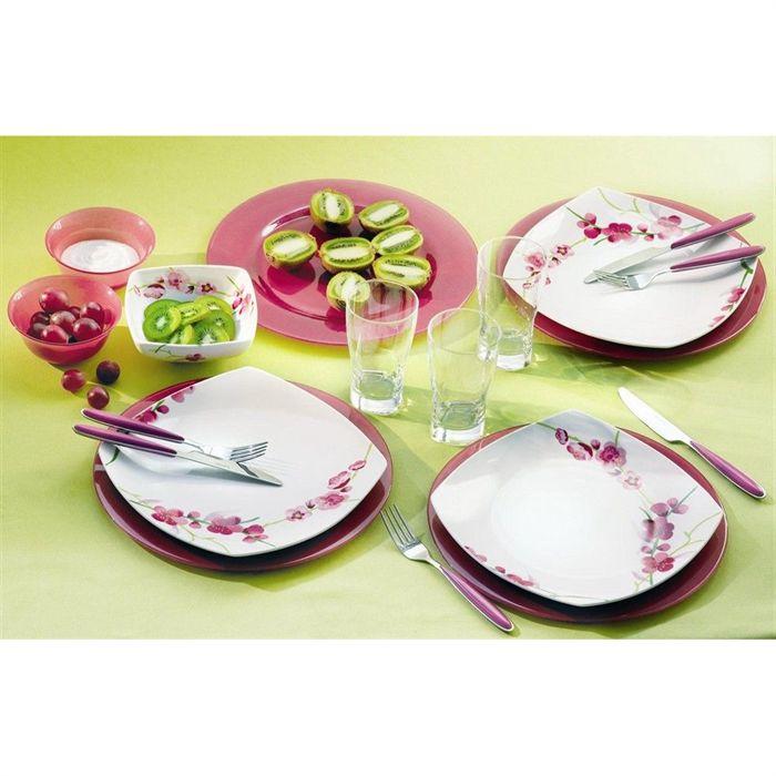 exemple luminarc ink flower service de table 30 pieces - vaisselle