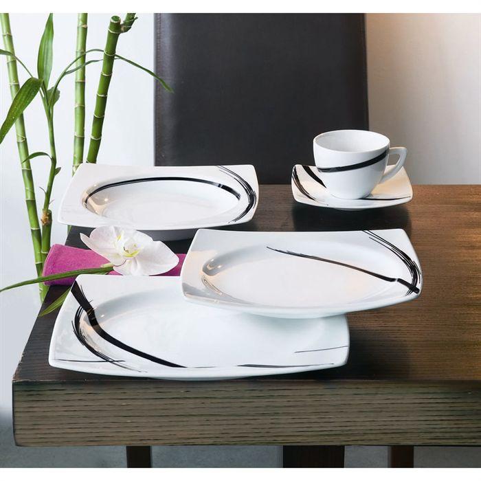 Service de table 18 pieces sweet line noir - Lot vaisselle pas cher ...
