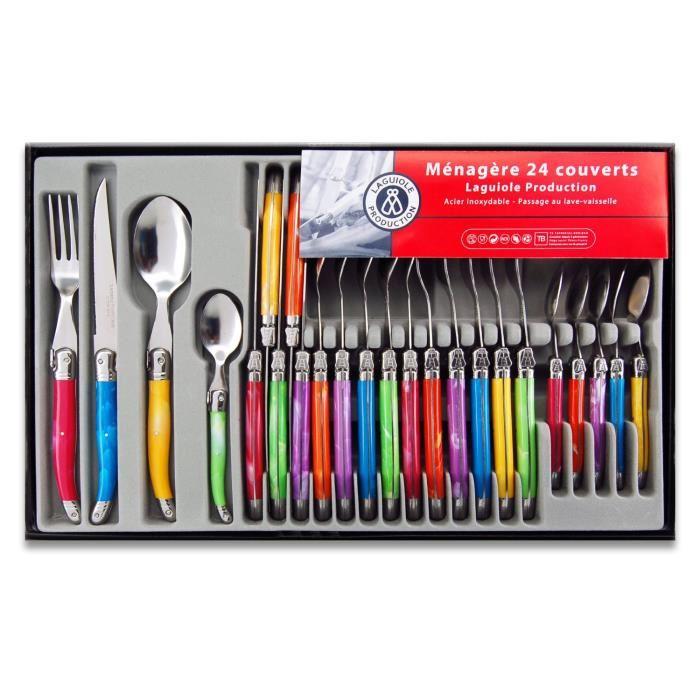 menagere 24 pieces laguiole multicolore