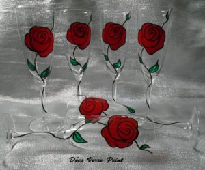 flute a champagne peinte